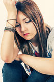 Girl in sad condition Stock Images