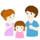 Girl sad from parent fighting problem  illustration. Girl sad from parent fighting problem on white background cartoon  illustration Stock Photography