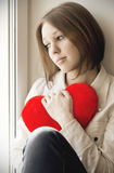 The girl is sad, sadness due the guy, keep heart Stock Photo