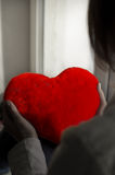 The girl is sad, sadness due the guy, keep heart Stock Image