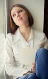 The girl is sad sadness due the guy Stock Photography