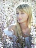 Girl at sage field Royalty Free Stock Photo