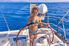 Girl on the sailboat Royalty Free Stock Photos