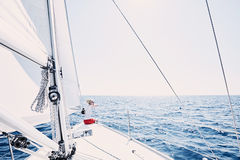Girl on sailboat royalty free stock photo