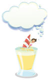 A girl sailing in a big glass with an empty callout Stock Photography