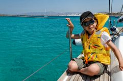 Girl on sailing boat royalty free stock photos