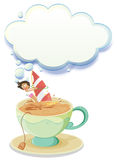A girl sailing over a big cup of tea with an empty callout Royalty Free Stock Photos