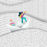 Girl sailing paper boat in education sea concept. Girl sailing paper boat in sea of words. Education concept for children reading or school project. EPS10 vector stock illustration