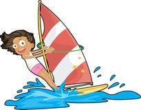 A Girl Sailing on Water Stock Photos