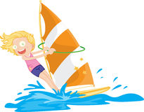 A Girl Sailing on Water Stock Photo