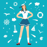 Girl sailor with decorative elements on background vector illustration