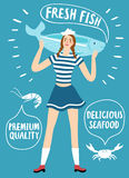 Girl sailor holding a big fish. Seafood cartoon poster. Girl sailor holding big speaking fish with bubble. Fresh fish, delicious seafood and premium quality Stock Photos