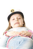 Girl in sailor uniform cap Stock Image