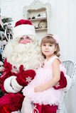Girl and Saint Nicolas Royalty Free Stock Photo