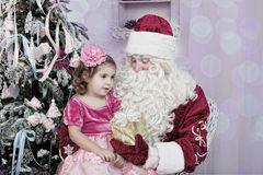Girl and Saint Nicolas Stock Photo