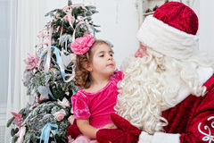 Girl and Saint Nicolas Royalty Free Stock Images
