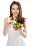 Girl with salad Royalty Free Stock Photos