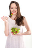 Girl with salad Royalty Free Stock Photography