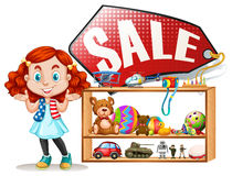 Girl saling old toys. Illustration Stock Photos