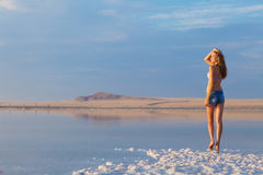 Girl in a salt lake Stock Photo