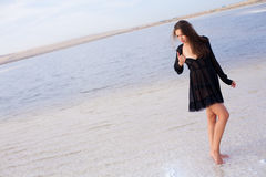 Girl in a salt lake Royalty Free Stock Photos