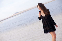 Girl in a salt lake Royalty Free Stock Photography