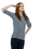 Girl salutes Royalty Free Stock Photography