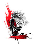 Girl samurai standing with sword in hand, a strong wind ruffling. Her hair and clothes Stock Photography