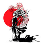 Girl samurai standing with sword in hand, a strong wind ruffling. Her hair and clothes Stock Images