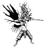 Girl samurai with wings. Of ink Royalty Free Stock Image