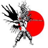 Girl samurai with wings stock illustration