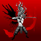 Girl samurai with wings. Of ink Stock Photography