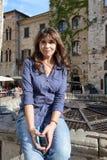 Girl in San Gimignano Royalty Free Stock Photo