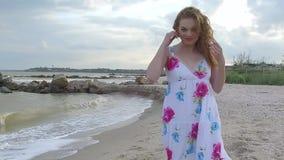 Girl on sand beach. stock footage