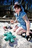 Girl in Sandbox Royalty Free Stock Photo