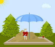 Girl in sandbox. Girl in the sandbox under an umbrella, fir trees and clouds on the sky background, vector illustration Stock Photo