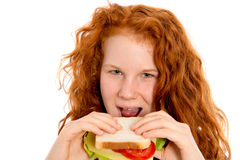 Girl with sandwich Stock Photos