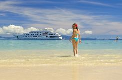 Girl on a sandy beach Royalty Free Stock Images