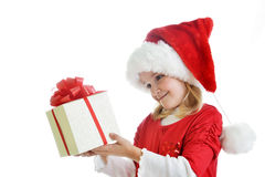 Girl in santa cap Royalty Free Stock Images