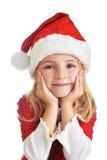 Girl in santa cap stock photo