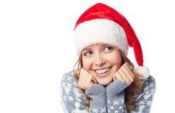 Girl in Santa cap Royalty Free Stock Photography