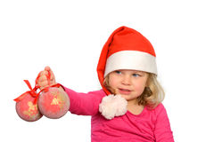Girl with santa cap Royalty Free Stock Image