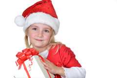 Girl in santa cap Royalty Free Stock Photos
