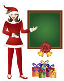 Girl Santa with Chalkboard Illustration Stock Photography