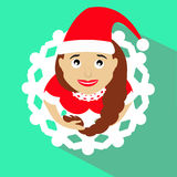 Girl Santa Claus brunette. Christmas New Year`s illustration, . Top view. Skirt form snowflake. on a green background. To us. Girl Santa Claus brunette Stock Images