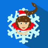 Girl Santa Claus brunette. Christmas New Year`s  illustration. top view. skirt in shape snowflake. On a blue background. To. Girl Santa Claus brunette. Christmas Royalty Free Stock Photos