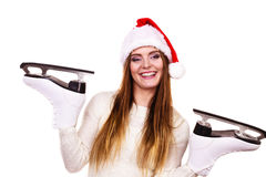 Girl with santa claus cap. Royalty Free Stock Image