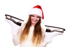 Girl with santa claus cap. Stock Image
