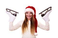Girl with santa claus cap. Stock Photo
