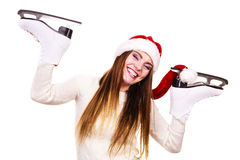 Girl with santa claus cap. Royalty Free Stock Image